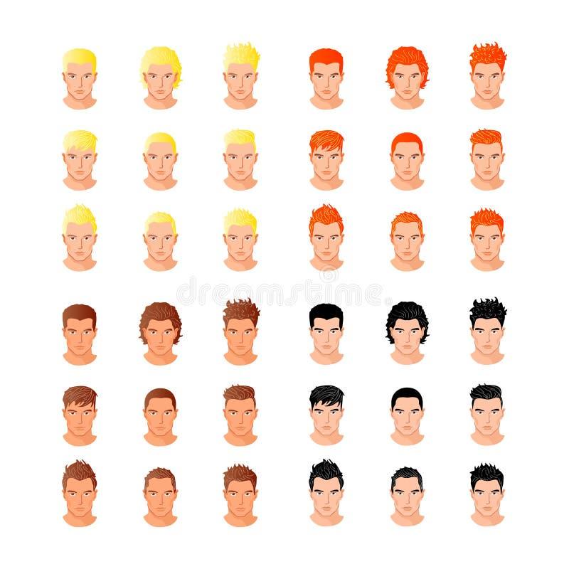 Fastställda olika stående för unga män för hårstil stock illustrationer