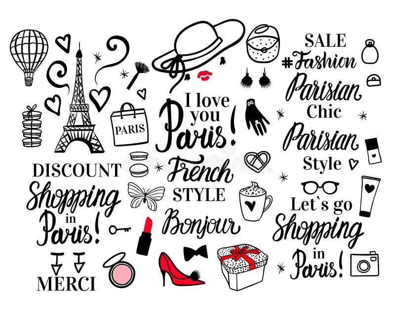 Fastställda Paris som märker typ Kvinna för illustration för franskt stilkvinnamode svart Vektorhanden skissar Kläder hatt, skor royaltyfri illustrationer