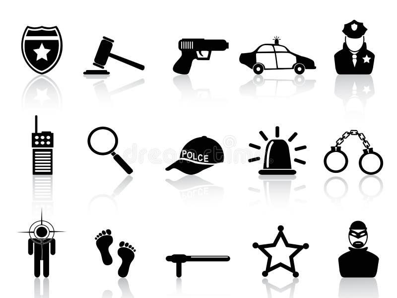 Fastställda polissymboler stock illustrationer