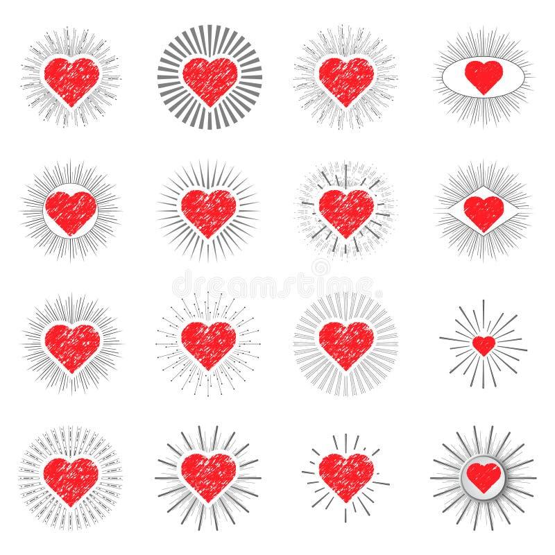 Fastställda röda hjärtasunburstmallar för etiketter stock illustrationer