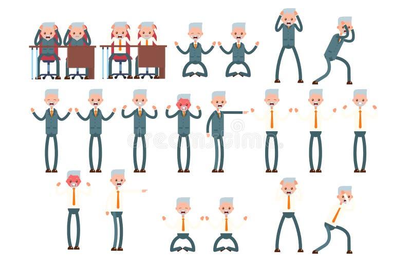 Fastställda rasande sinnesrörelser, frustration, ilska åldring royaltyfri illustrationer