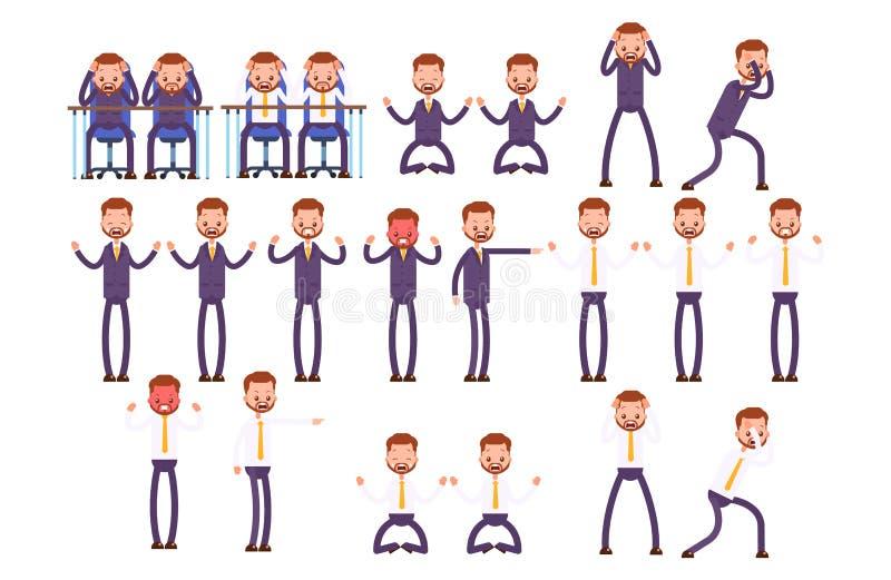 Fastställda rasande sinnesrörelser, frustration, ilska Affär stock illustrationer