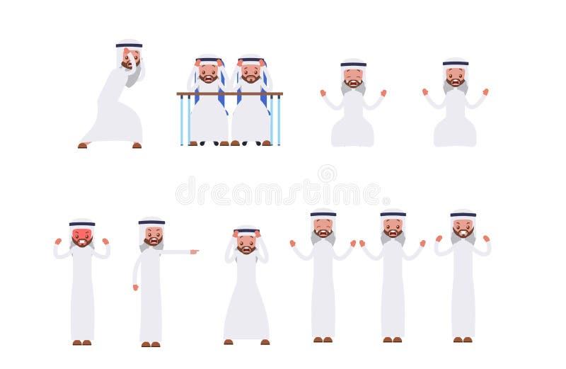 Fastställda rasande sinnesrörelser, frustration, ilska Arab sa stock illustrationer