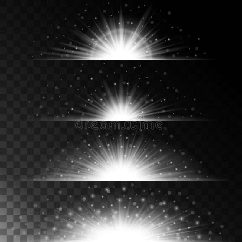 Fastställda realistiska belysningeffekter glödande stjärna Ljus och blänker på en genomskinlig bakgrund Magisk glänsande gräns stock illustrationer