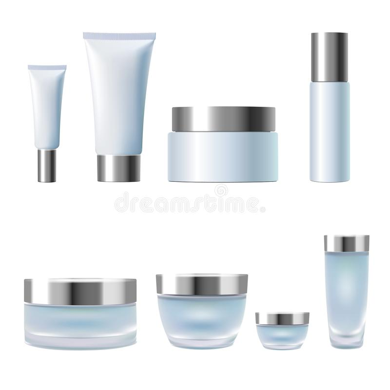 Fastställda realistiska kosmetiska för krämkrus för packe 3d rör Ljus - isolerad glass plast- för blåa behållare för silver metal royaltyfri illustrationer