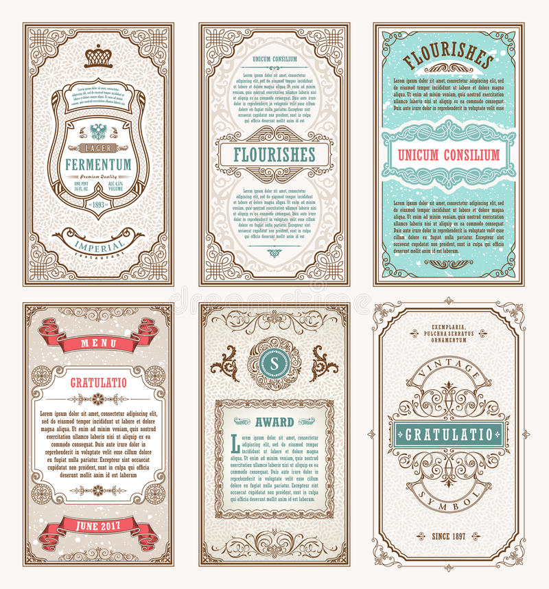 Fastställda retro kort för tappning Inbjudan för bröllop för mallhälsningkort Linje calligraphic ramar stock illustrationer