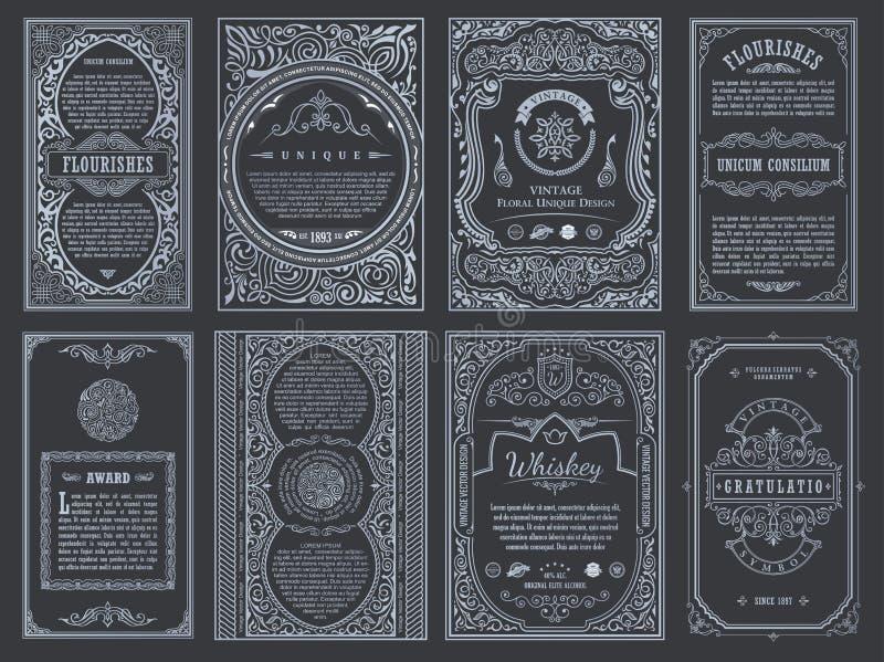 Fastställda retro kort för tappning Inbjudan för bröllop för mallhälsningkort Linje calligraphic ramar royaltyfri illustrationer