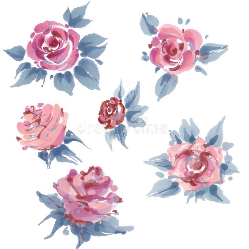 Fastställda rosor, vattenfärg, kan användas som hälsa kort, inbjudankortet för bröllop, födelsedagen och annan ferie och sommar stock illustrationer