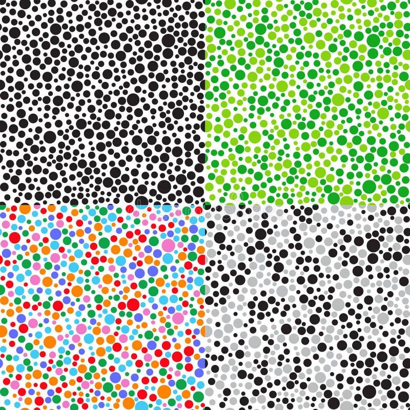 Fastställda sömlösa modeller av små mångfärgade bollar stock illustrationer