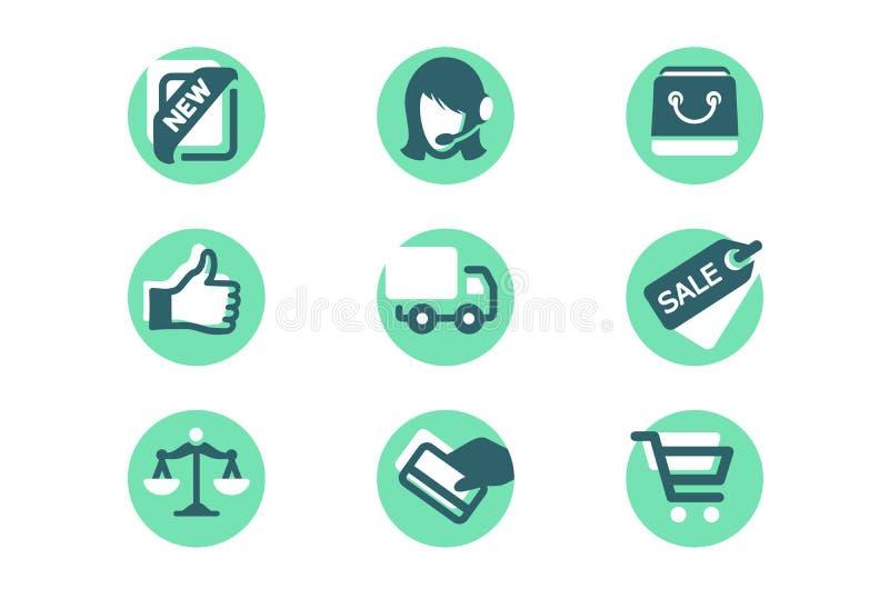 Fastställda shoppa symboler med kortbetalning, leverans, som, försäljning, service, påse royaltyfri illustrationer