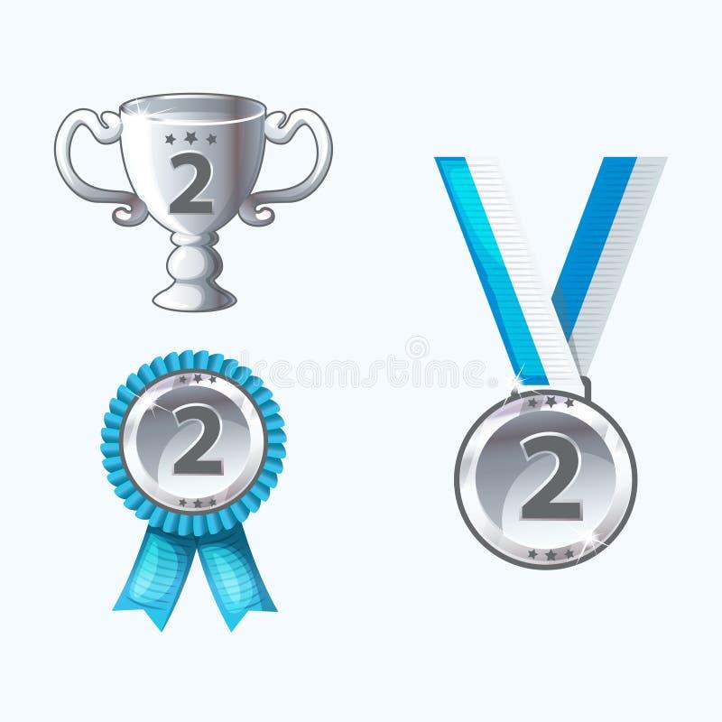 Fastställda silvermedaljer och utmärkelser, trofé stock illustrationer