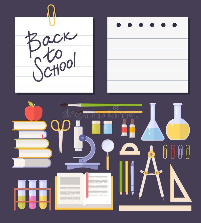 Fastställda skolaobjekt, tillförsel: schoolbook mikroskop, kemisk provrör, böcker, sax på mörk bakgrund vektor illustrationer