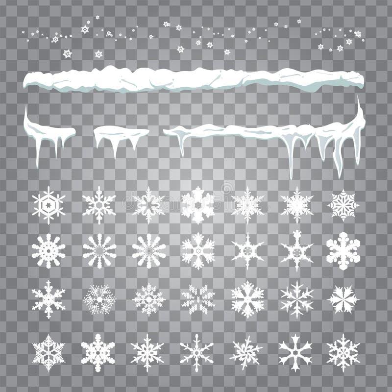 Fastställda snowlakes och dra för uppsättning av snö, hängande istappar stock illustrationer