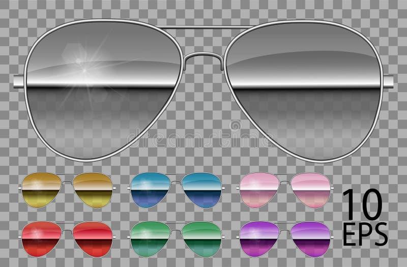 Fastställda spegelexponeringsglas Polisen tappar flygareform genomskinlig olik colorpurple solglas?gon isolerade svarta diagram f royaltyfri illustrationer