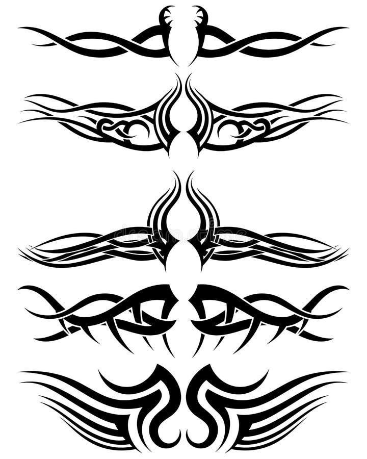 Fastställda stam- tatueringar stock illustrationer