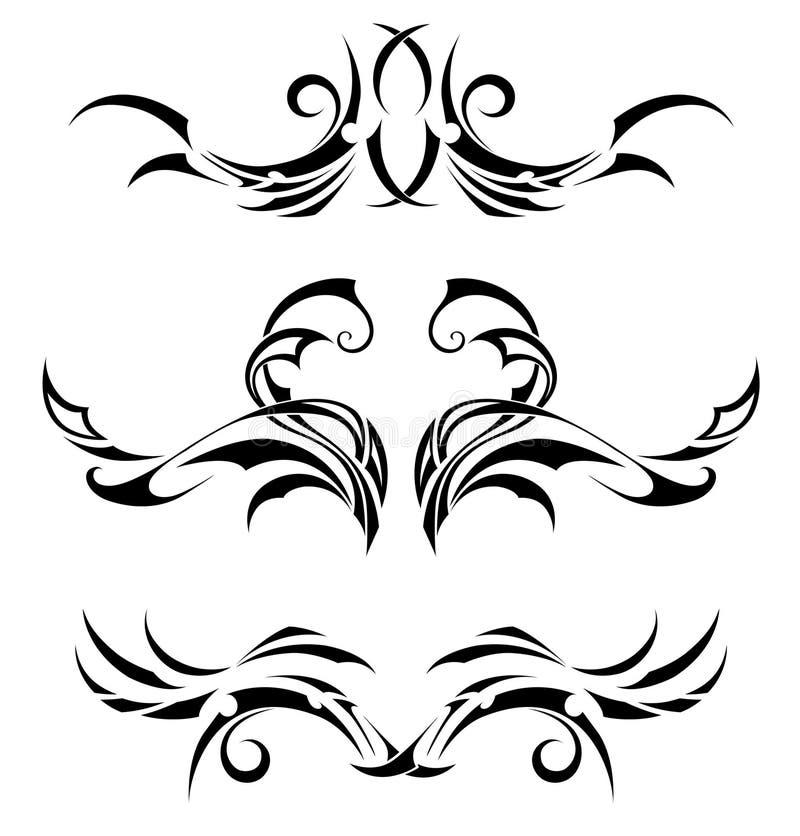 Fastställda stam- tatueringar royaltyfri illustrationer