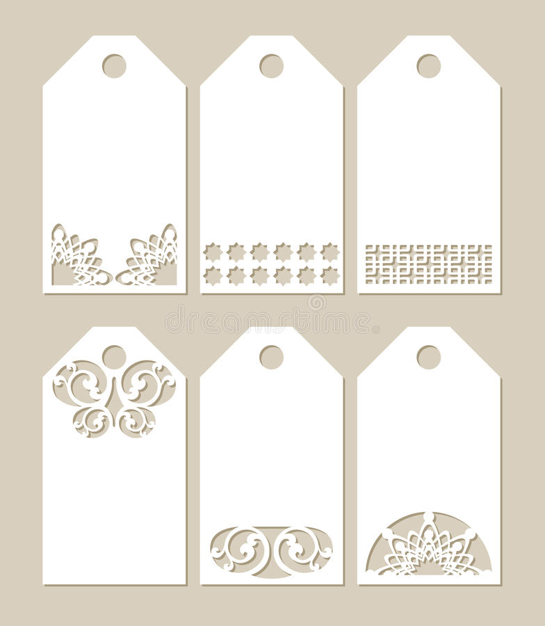 Fastställda stenciletiketter med den sned modellen stock illustrationer