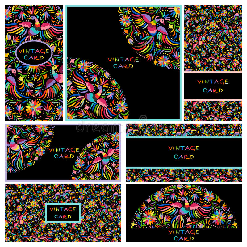 Fastställda svarta affärskort med den blom- mexicanska modellen vektor illustrationer