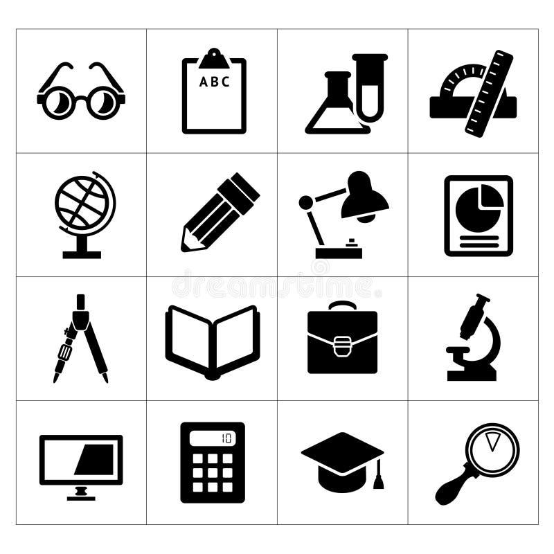 Fastställda svarta symboler av skolan och utbildning royaltyfri illustrationer