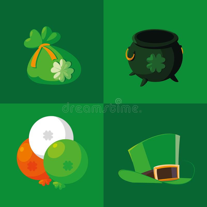 Fastställda symboler av den St Patrick dagen stock illustrationer