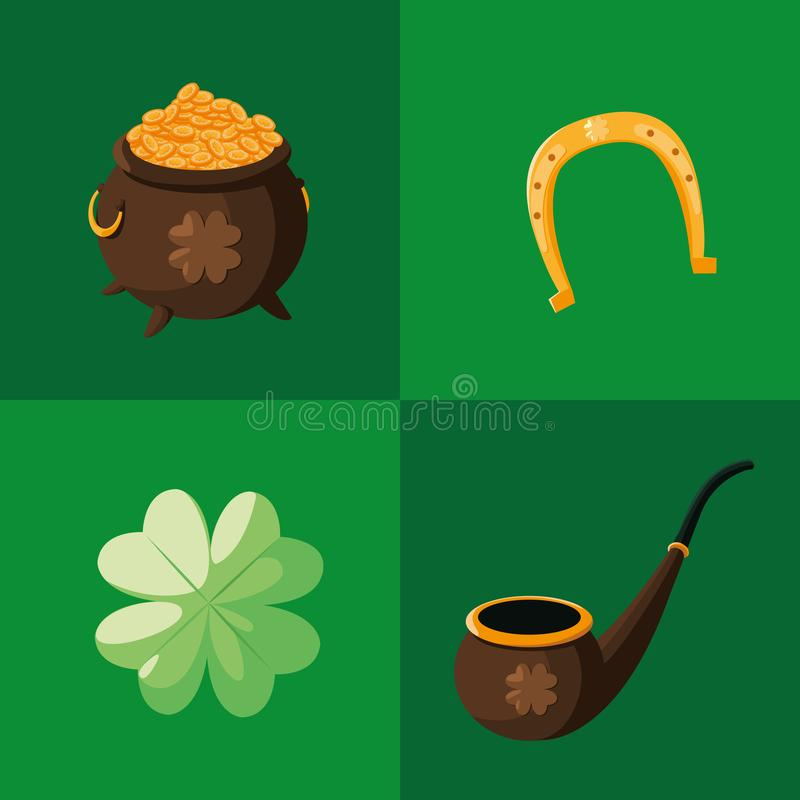 Fastställda symboler av den St Patrick dagen royaltyfri illustrationer