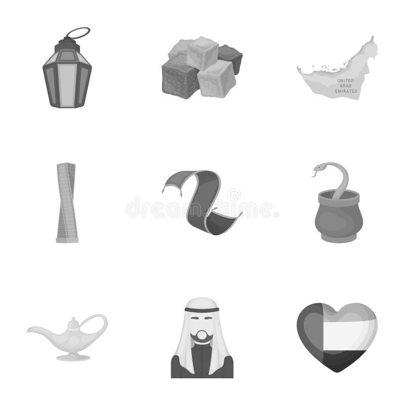 Fastställda symboler för arabiska emirater i monokrom stil Stor samling av det arabiska emiratsymbolet vektor illustrationer