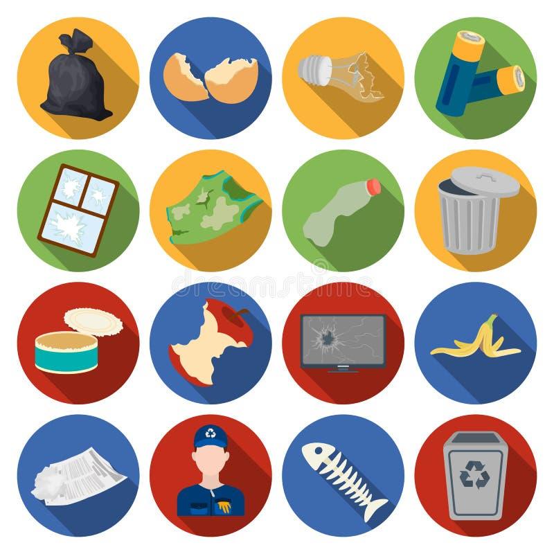 Fastställda symboler för avfall och för avskräde i plan stil Den stora samlingen av avfall- och avskrädevektorsymbolet lagerför i vektor illustrationer