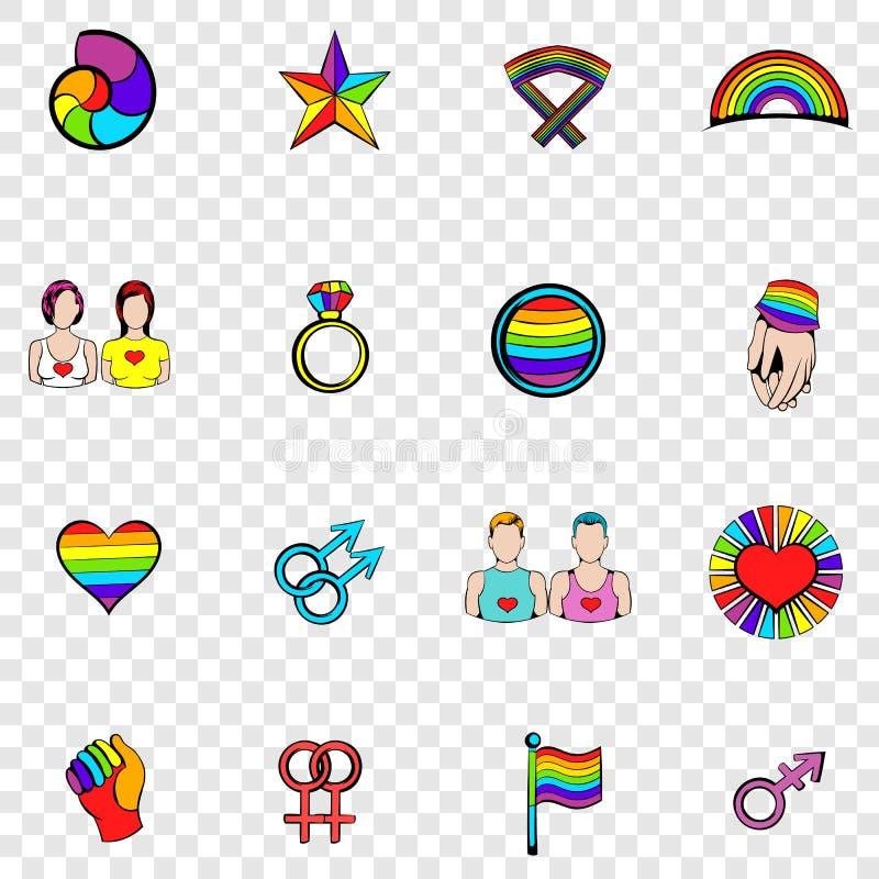 Fastställda symboler för bög stock illustrationer