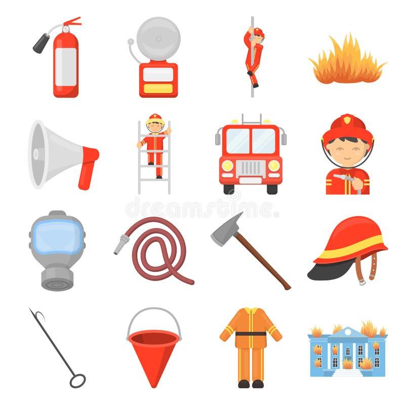Fastställda symboler för brandstation i tecknad filmstil Stor samling av symbolet för brandstationvektorillustration royaltyfri illustrationer
