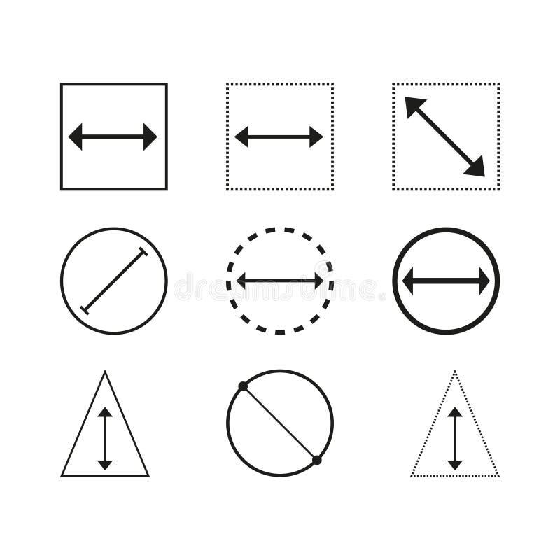 Fastställda symboler för diameter vektor illustrationer