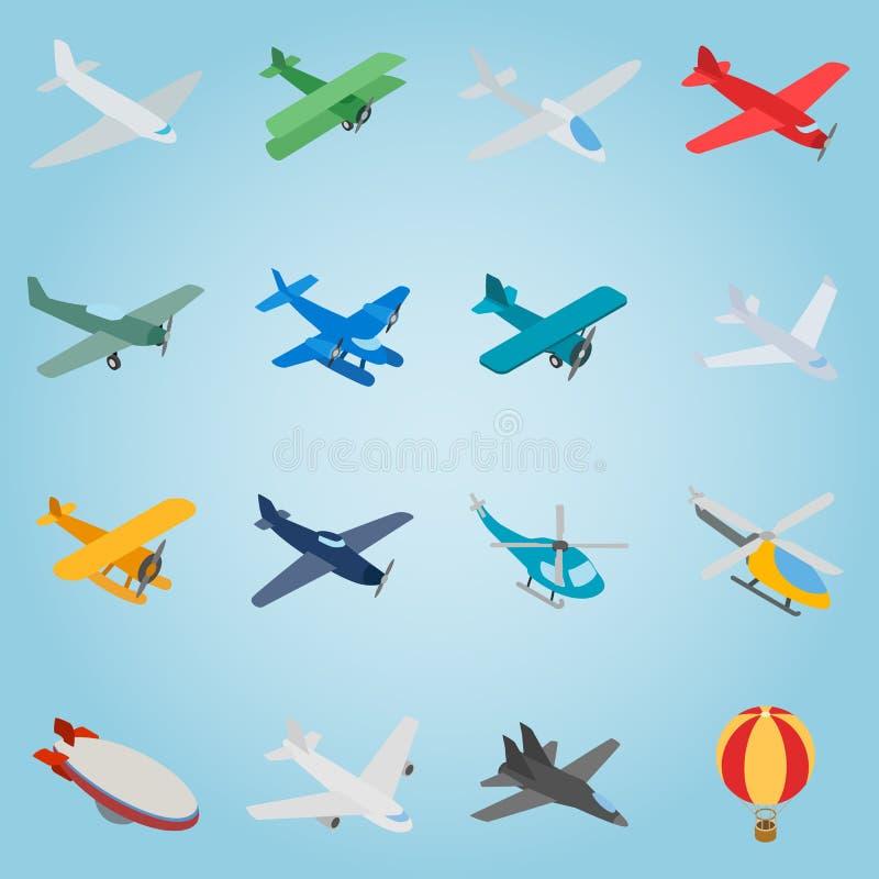 Fastställda symboler för flyg, isometrisk stil 3d royaltyfri illustrationer