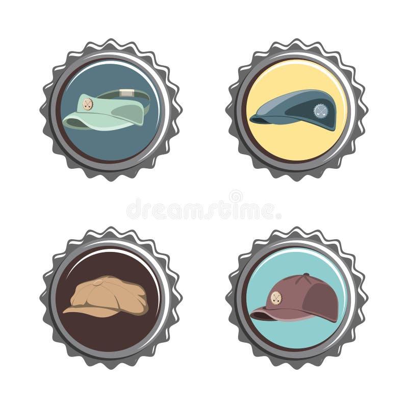 Fastställda symboler för golfklubbskyddsremsor vektor illustrationer