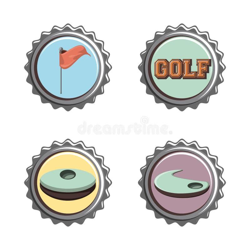 Fastställda symboler för golfklubbskyddsremsor stock illustrationer