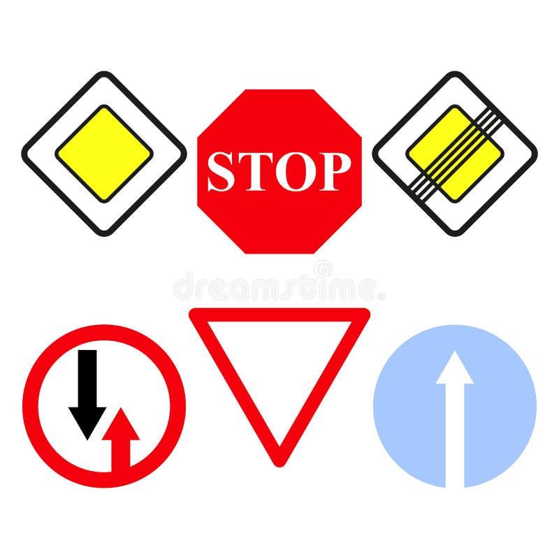 Fastställda symboler för huvudvägtecken stoppet vektor illustrationer