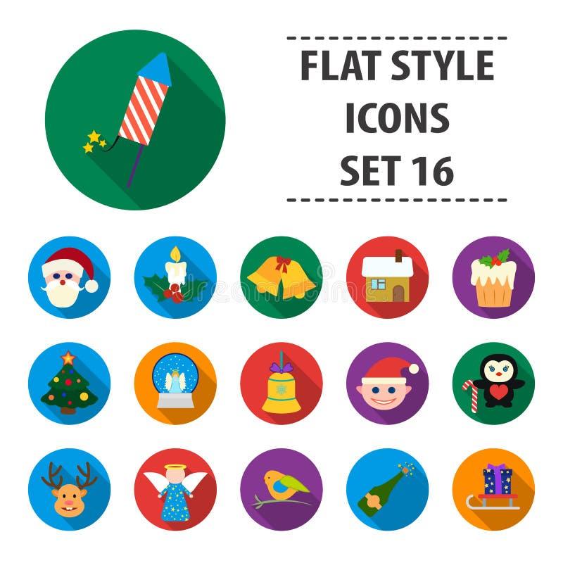 Fastställda symboler för juldagen i tecknad filmstil Stor samling av illustrationen för materiel för juldagenvektorsymbol royaltyfri illustrationer