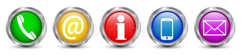 Fastställda symboler för kontaktknappar - vektor royaltyfri illustrationer