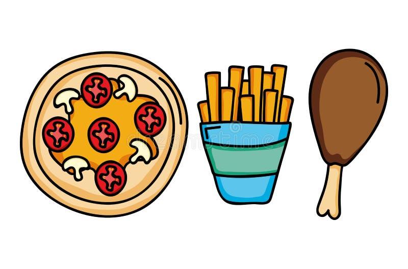 Fastställda symboler för läcker snabbmatmeny stock illustrationer