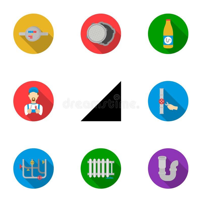 Fastställda symboler för rörmokeri i plan stil Stor samling av rörmokerivektorsymbolet vektor illustrationer