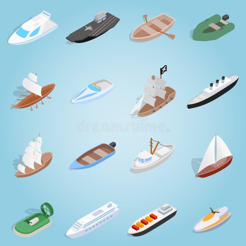 Fastställda symboler för skepp, isometrisk stil 3d vektor illustrationer