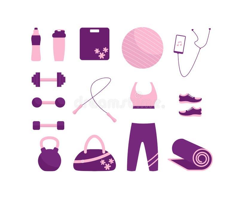 Fastställda symboler för sportutrustning, konditionbeståndsdelar vektor illustrationer
