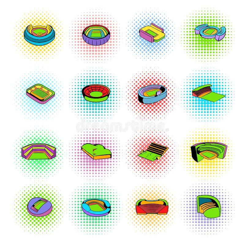 Fastställda symboler för stadion, komikerstil vektor illustrationer