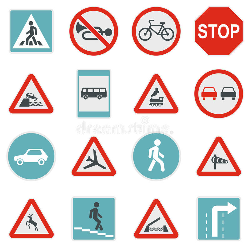 Fastställda symboler för vägmärke, lägenhetstil vektor illustrationer