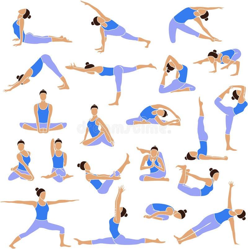 Fastställda symboler för yoga. vektor illustrationer