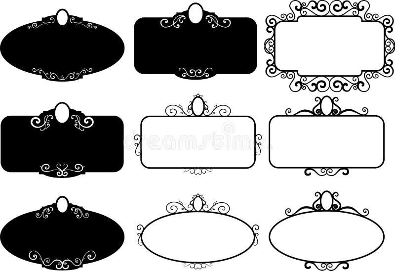 Fastställda tappningramar, designbeståndsdelar Skissa den drog handen dekorativ kant royaltyfri illustrationer