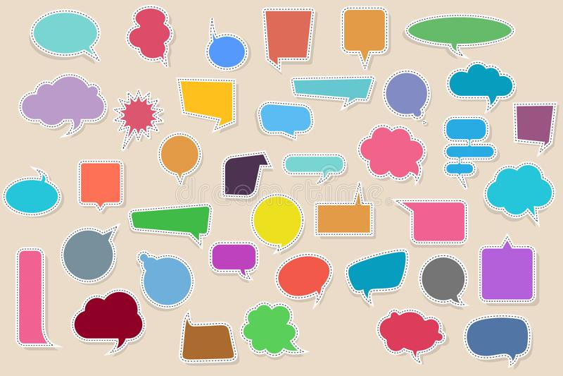 Fastställda tomma tomma färgrika klistermärkear av anförande bubblar med skuggor också vektor för coreldrawillustration stock illustrationer