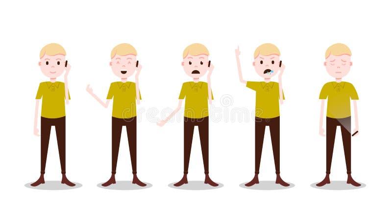 Fastställda tonåriga det olika pojketeckenet poserar och den manliga mallen för sinnesrörelsepåringning för designarbete och anim stock illustrationer