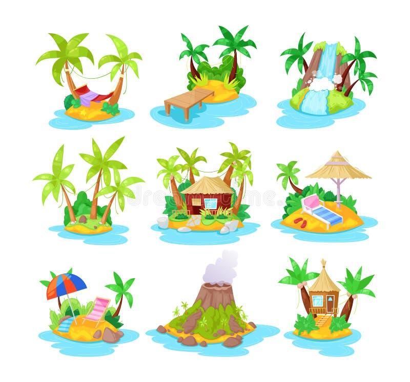 Fastställda tropiska öar i havet med gömma i handflatan, bungalowen, vulkan, vattenfall vektor illustrationer