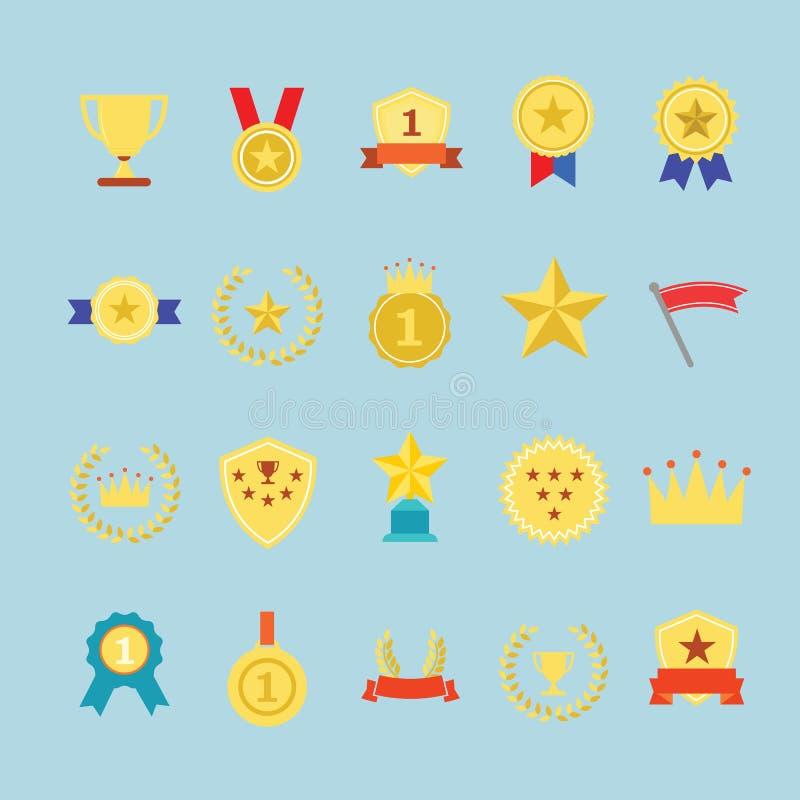 Fastställda utmärkelsesymboler vektor illustrationer