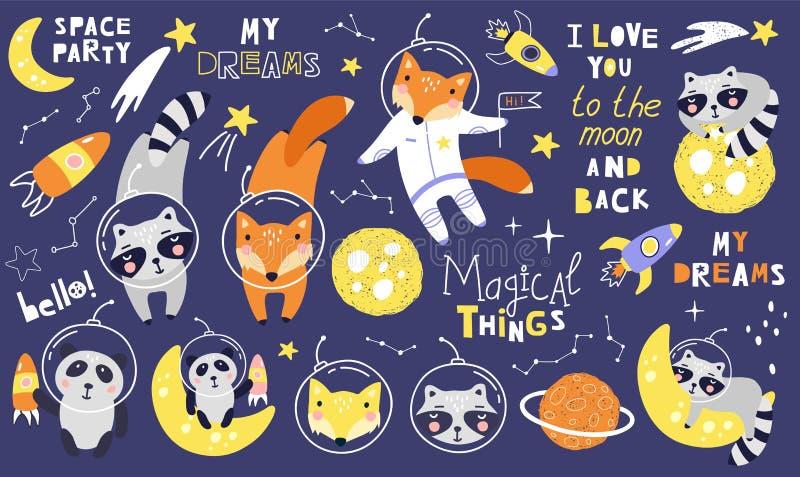 Fastställda utrymmedjur med räven, tvättbjörnar astronaut, planeter, stjärnor, komet och uttryck vektor royaltyfri illustrationer