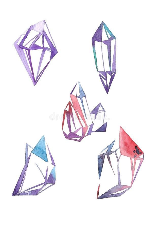 Fastställda vattenfärggems Modesmycken skissar Mode utformar Dyrbar kristallillustration royaltyfri illustrationer